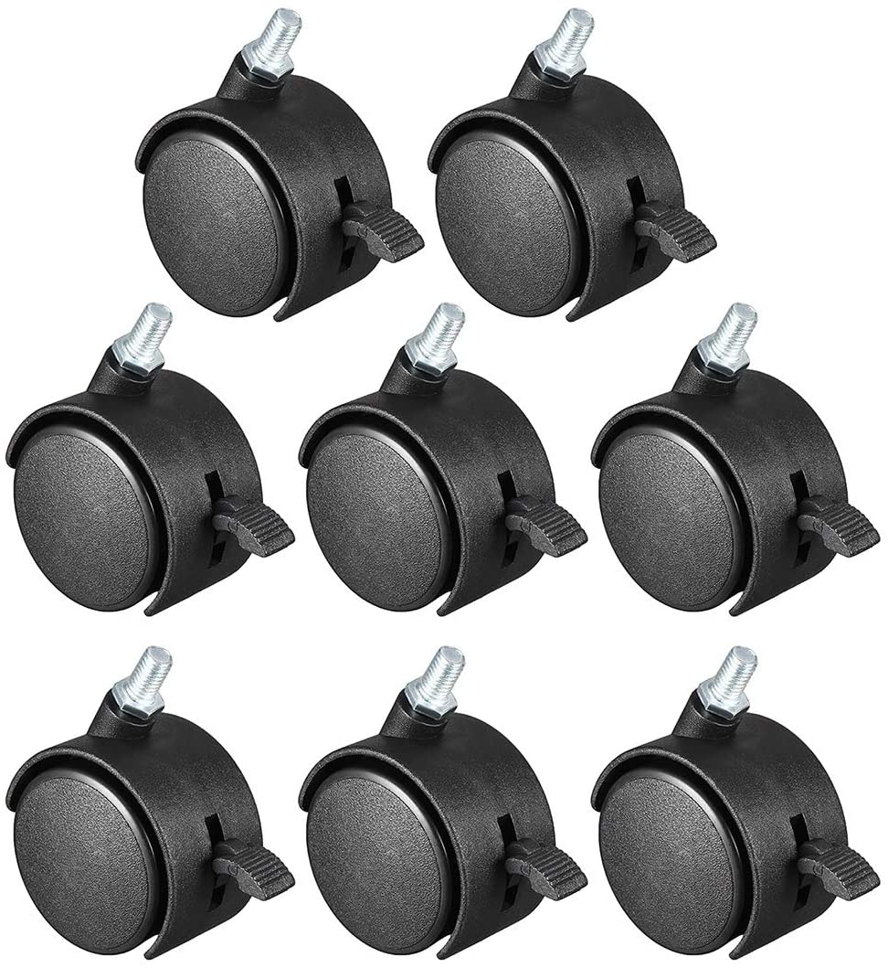 BTCS-X 1.5in 2in Nylon Swivel Caster Wheels 4pcs-20pcs 360 Degree M6 M8 M10 Threaded Stem Caster Wheel with Brake No Brake Widely Used in Indoor and Outdoor Light Duty (Size : 1.5in w Brake M8 8X)