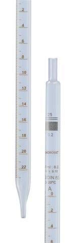 Borosil Reusable Class B Serological Pipettes (Pipets) with Permanent Amber Graduations, 0.2mL (0.01 Intervals), 20/CS