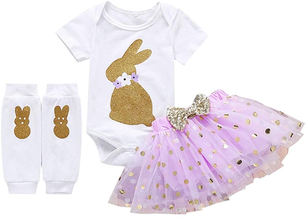 Baby Girls Easter Skirt Set Newborn Short Sleeve Bunny Romper Tutu Dress Leg Warmers 3Pcs Outfit