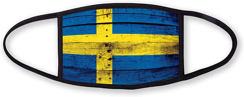 3-Layer reusable/washable Facemask - Flag of Sweden (Swede) - Wood Design
