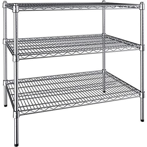 24 inch. x 36 inch. NSF Chrome 3-Shelf Kit with 34 inch. Posts.Best Decision for Retail, Restaurant, Home, Commercial, Kitchen, Workshop, Storage, Warehouse, Garage, School