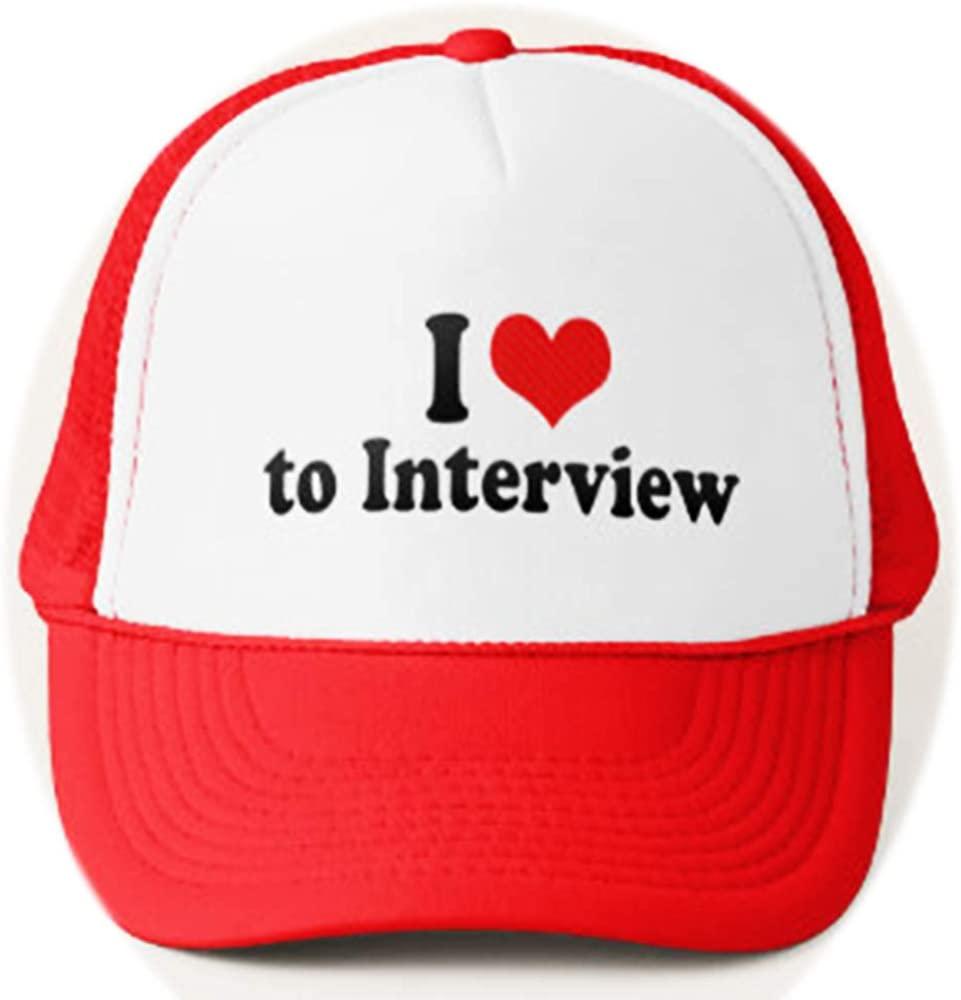 Funny i Love to Interview Trucker hat Love Adjustable Mesh Trucker Hat Baseball Cap