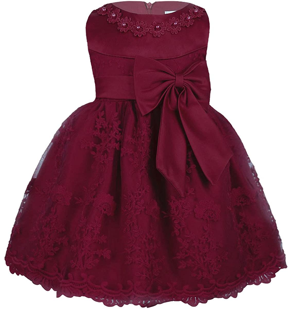 iEFiEL Baby Girls Floral Embroidered Bow Dress Princess Pageant Birthday Party Dress