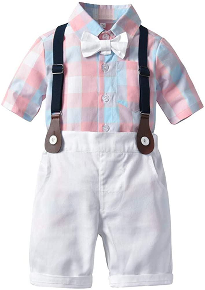 iRACHEU Baby Boys Plaid Short Sleeve Shirt w/Bow-tie+Suspender Short Pants