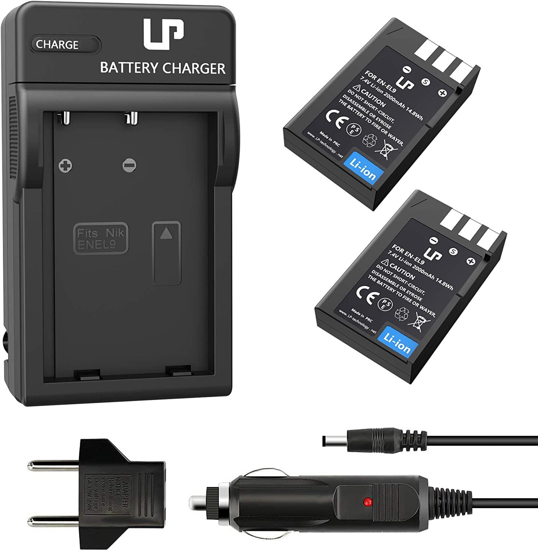EN-EL9 EN EL9a Battery Charger Pack, LP 2-Pack Battery & Charger, Compatible with Nikon D40, D40X, D60, D3000, D5000 Cameras, Replacement for MH-23