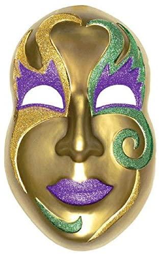 Amscan 195431 Jumbo Mardi Gras Party Face Mask, Plastic, 21