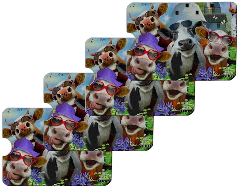 Udderly Cool Cow Farm Selfie Credit Card RFID Blocker Holder Protector Wallet Purse Sleeves Set of 4