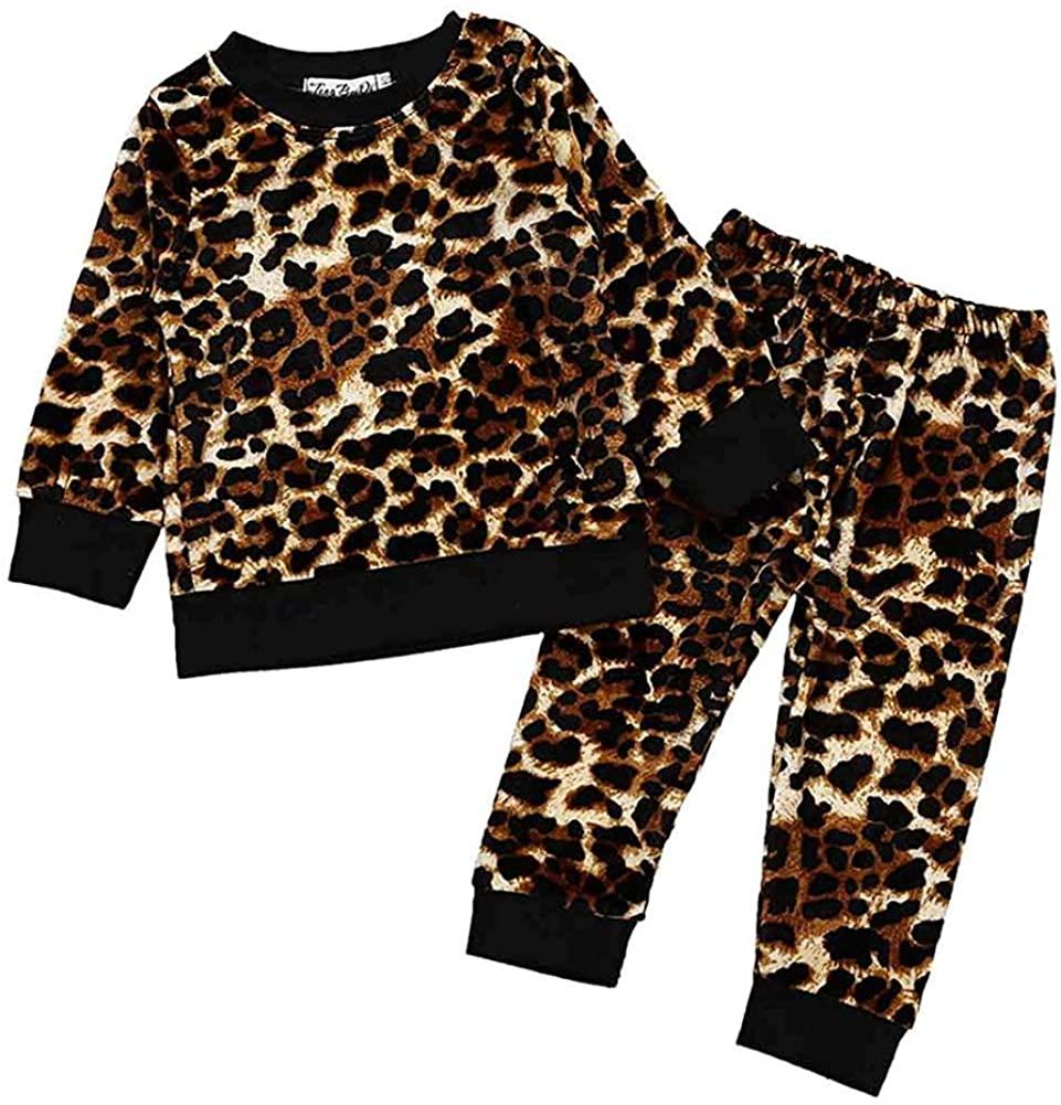 Ritatte 2 Pcs Fashion Toddler Kids Baby Girls Sweatshirt Velvet Clothes Pant Set Fall Winter Outfit