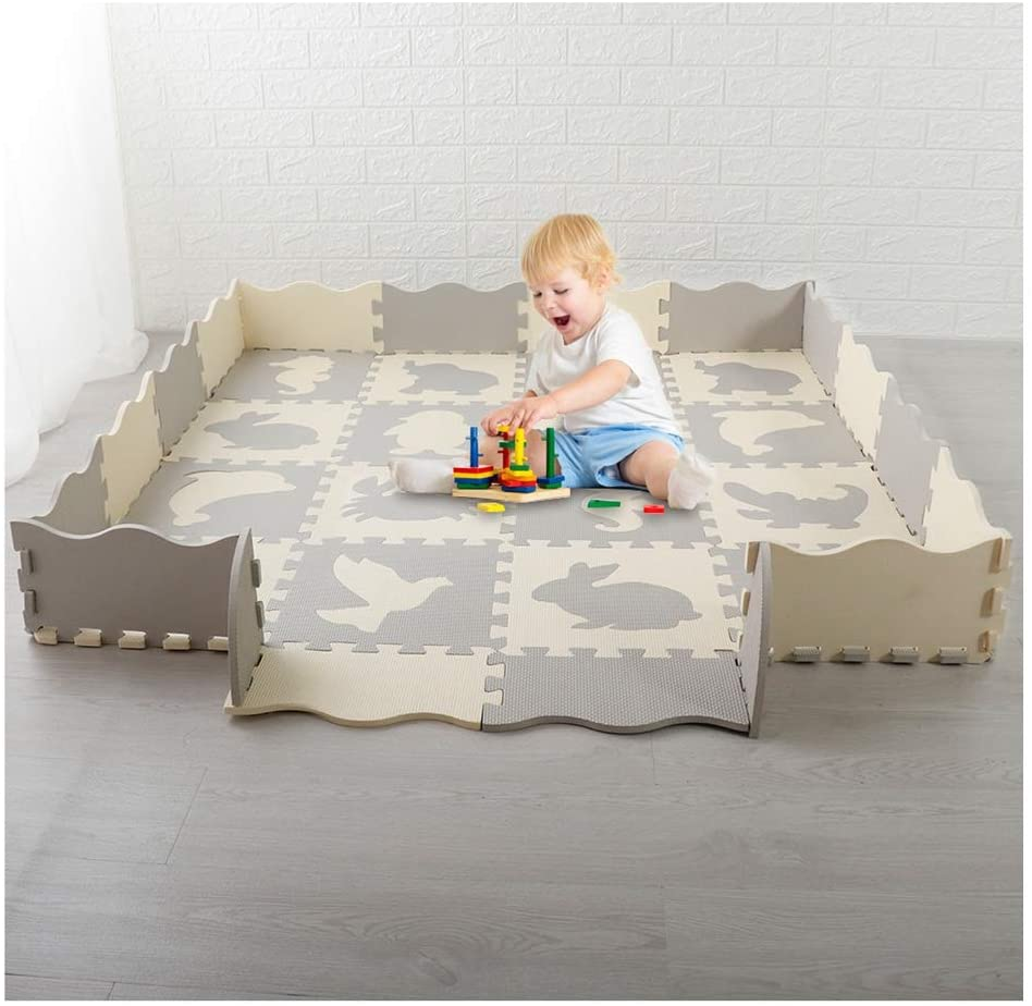 XBYEE Baby Play Mats Foam Puzzle with Fence Pieces for Infants Kids Non-Slip Waterproof - Baby Play Mat Thick Baby Crawling Mat Foldable