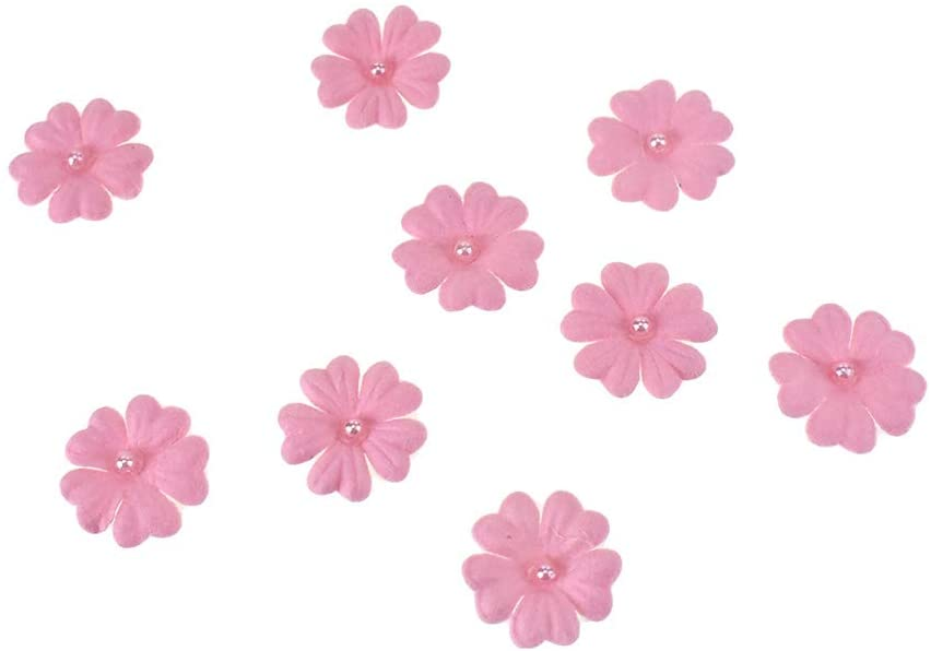 Homeford Handmade Paper Floral Embellishments with Pearls, 1-Inch, 32-Piece (Pink)