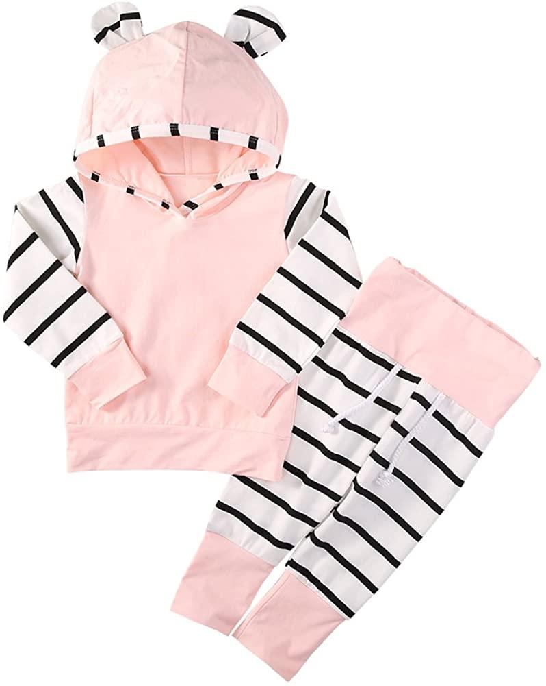 Scfcloth Newborn Baby Girl Hoodie Long Sleeve Tops + Stripe Trousers Outfits Set