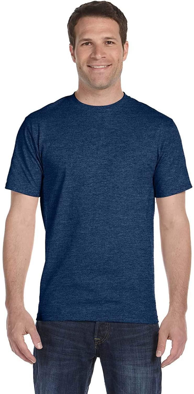 Hanes Lay-Flat Tag-Free Crewneck Beefy T-Shirt, Heather Navy, Small
