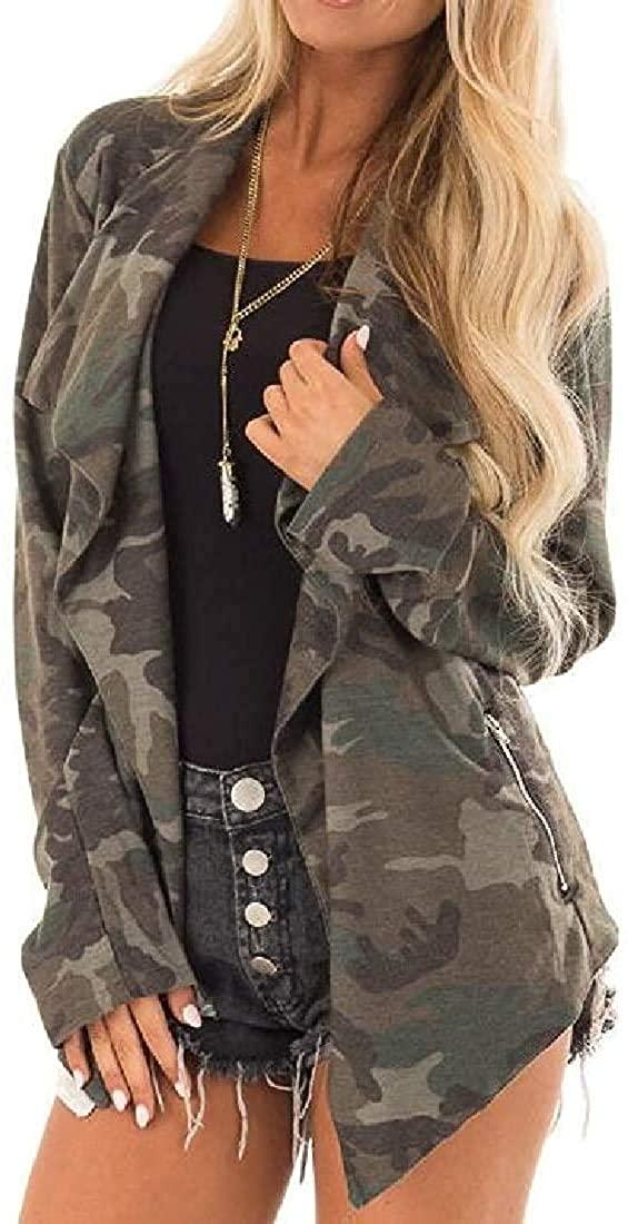 Women Fall-Winter Long Sleeve Camo Cardigan Open-Front Irregular Hem Jacket Coat