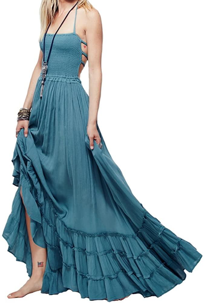 VERGOODR Womens Cotton Sexy Sleeveless Boho Beach Backless Long Bohemian Dress