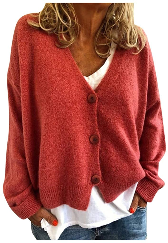 LATINDAY ➢ Women's Front Cardigan V Neck Button Down Knitted Sweater Coat