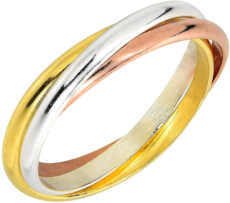 AeraVida Tricolor Triple Tangle Hoop .925 Sterling Silver Ring