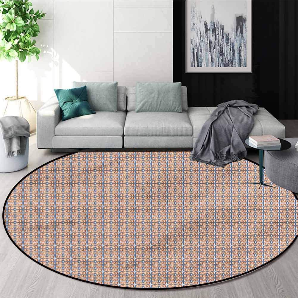 RUGSMAT Traditional Modern Machine Washable Round Bath Mat,Mosaic Tile Pattern Design Non-Slip Fabric Round Rugs for Study Room Diameter-55