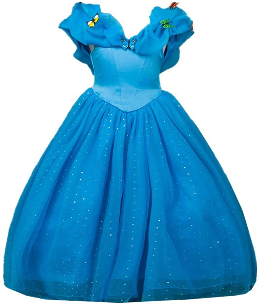 DreamHigh Cosplay Butterfly Party Girls Costume Dress Size 9-10 Years Blue