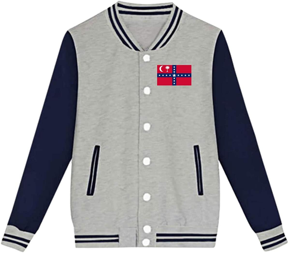 South Carolina Succession Flag Baseball Jacket Custom Fleece Varsity Uniform Sport Coat for Youth