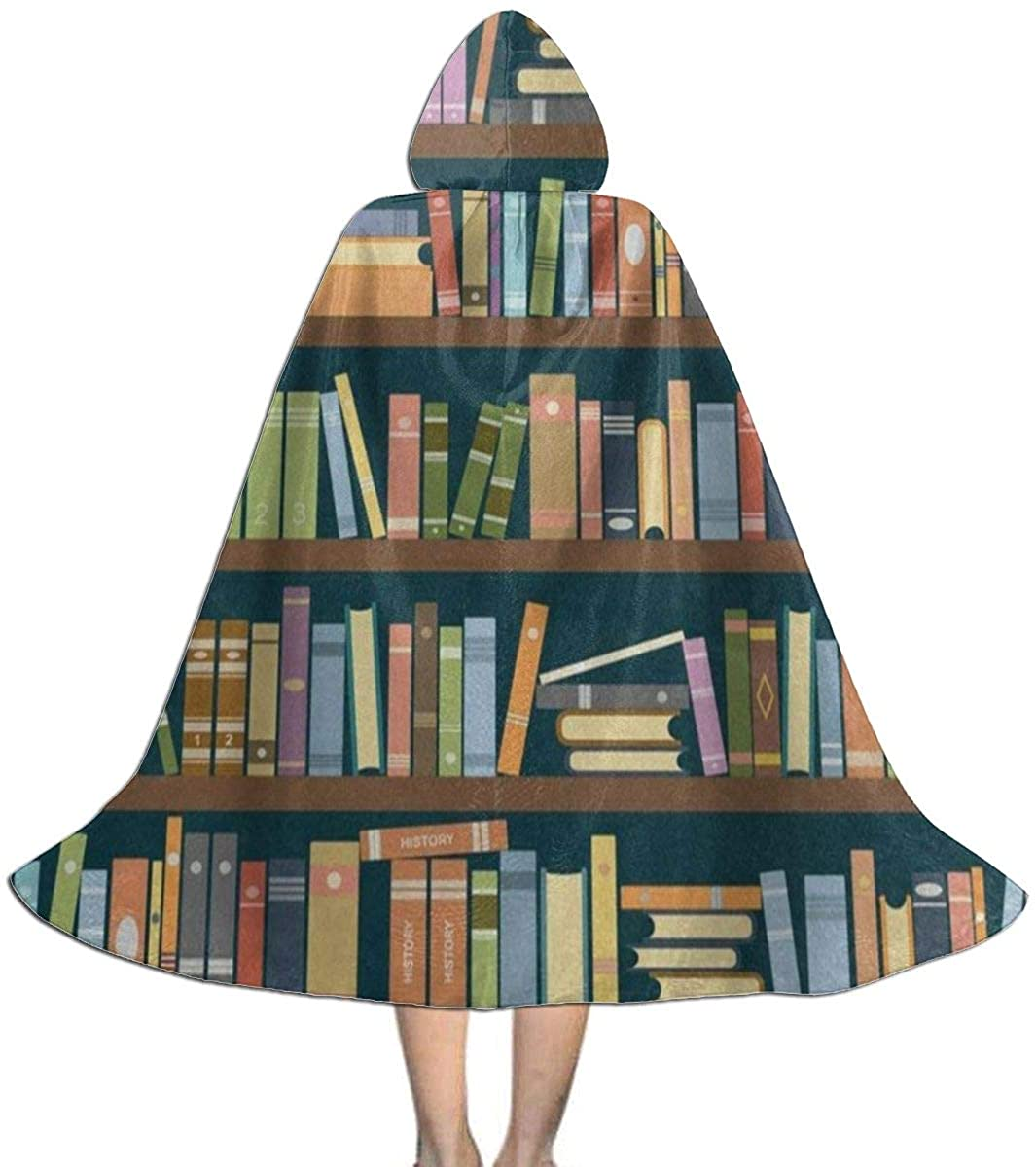 Bookshelf in The Library Bookworm Kids Hooded Cloak Cape for Christmas Halloween Cosplay Costumes