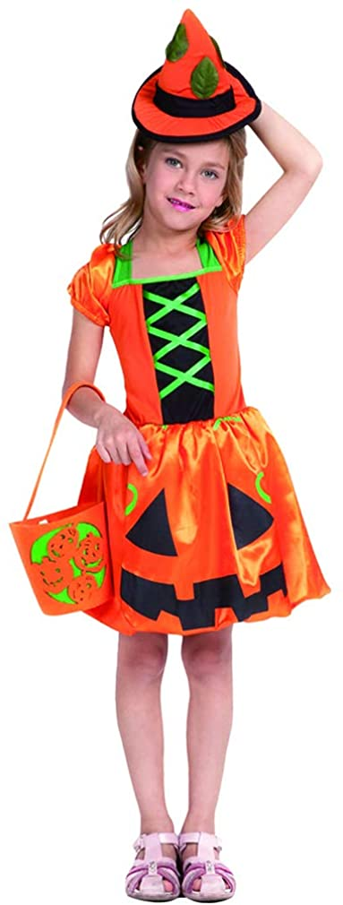 Girls Pumpkin Costume - Kids Funny Orange Lantern Face Dress with Hat Head Band for Halloween Thanksgiving Cosplay Party