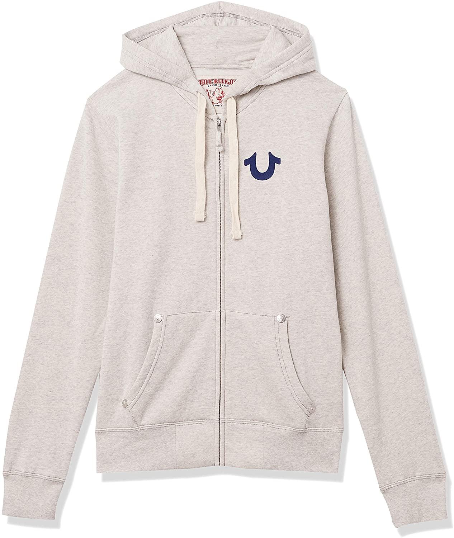 True Religion Mens Classic Logo Long Sleeve Zip Up Hoodie