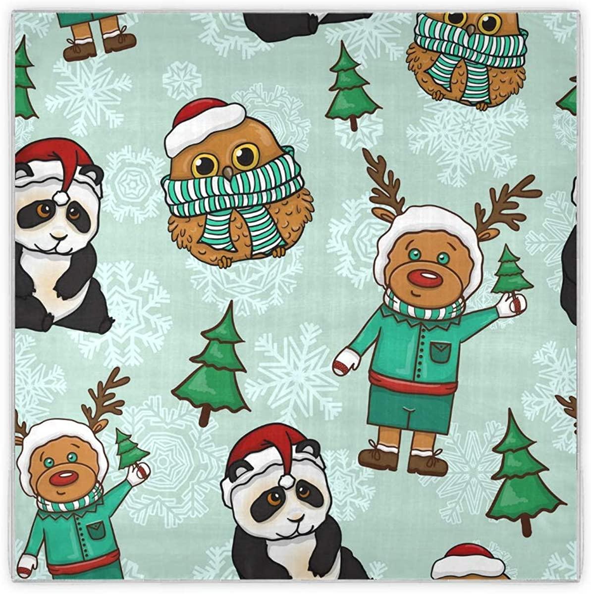 SLHFPX Silk Scarf Merry Christmas Deers Pandas Owl Cute Womens Square Scarf Summer Head Scarves Neckerchief Bandana