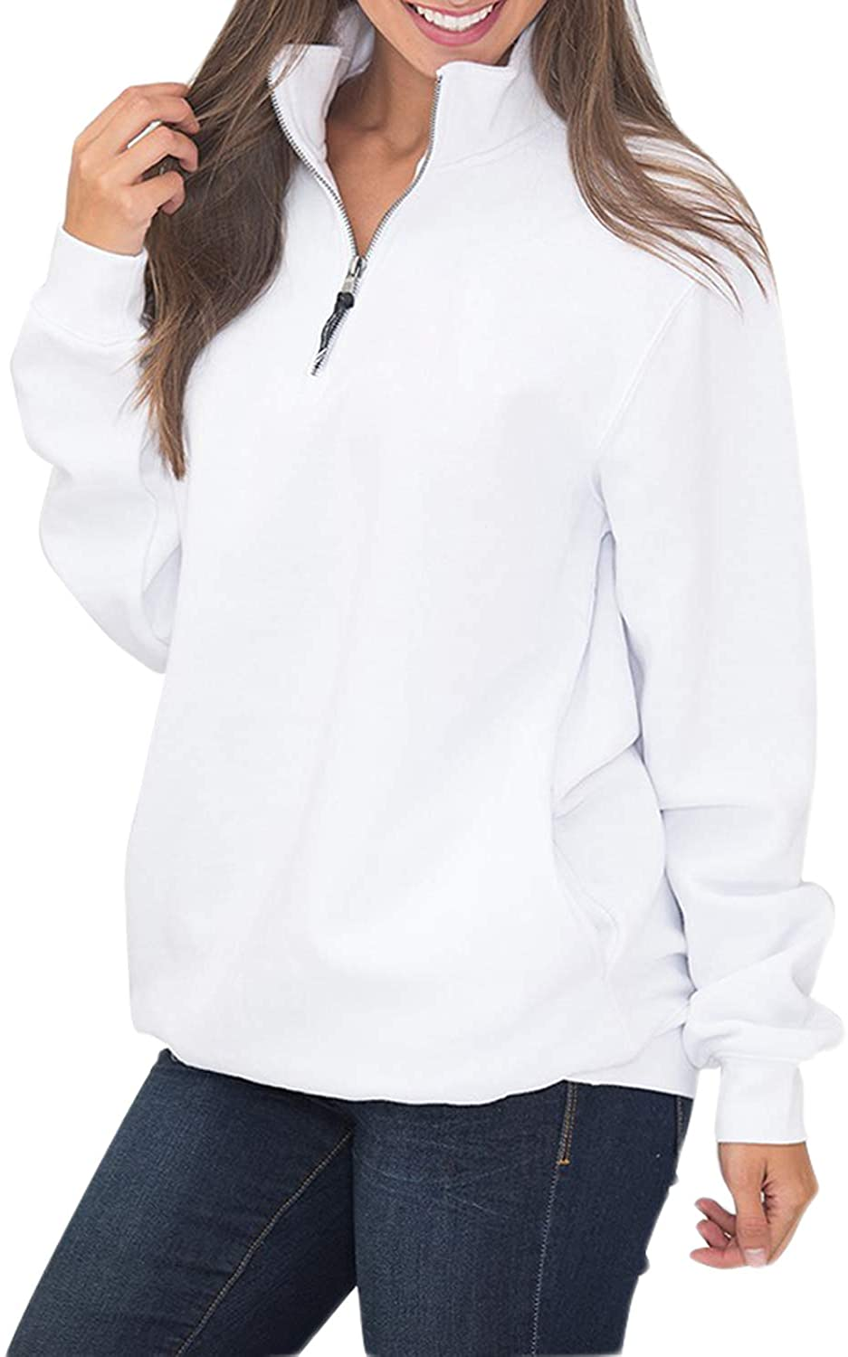 Malaven Womens Quarter Zip Sweatshirts Long Sleeve Pullover Sweatshirts with Pockets