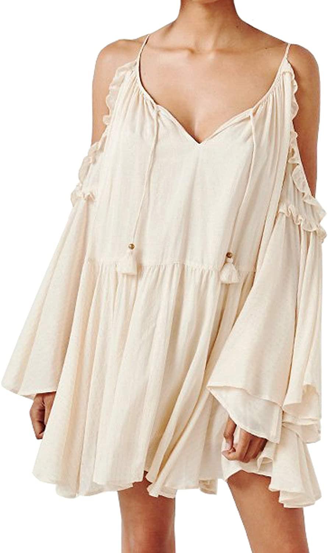 R.Vivimos Womens Cotton Long Sleeve V Neck Cold Shoulder Casual Ruffles Loose Short Dresses