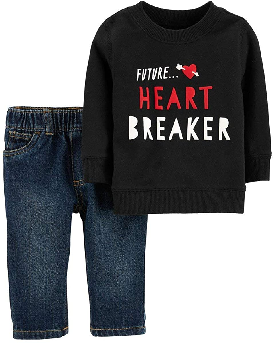 Carter's Boys Valentine's Day Outfit Future Heart Breaker Sweatshirt with Jeans