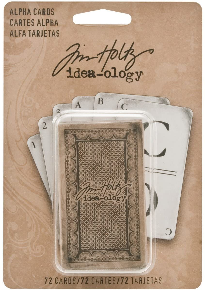 Alpha Cards by Tim Holtz Idea-ology, 72 Alpha and Digit cards, 2-1/2 Inches Tall, Paper, Black and White, TH93006