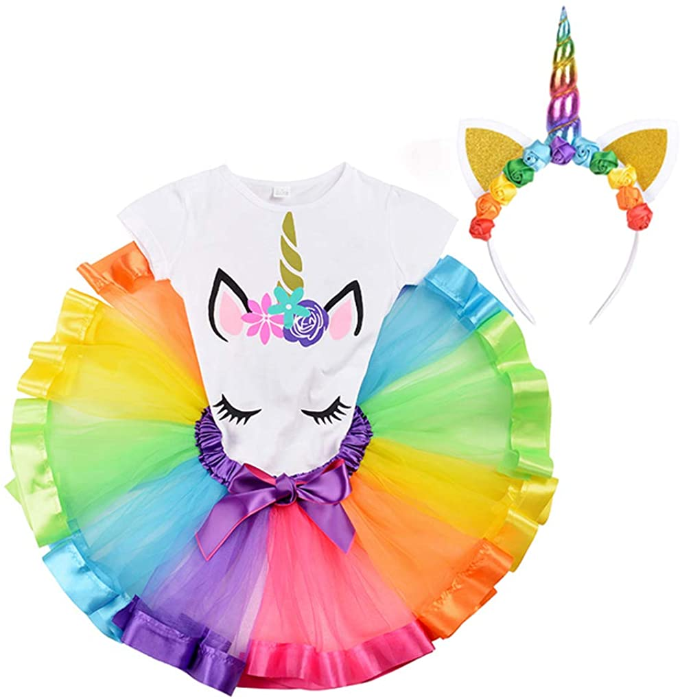 DOMIRY Tulle Tutu Skirt Dressing up Set for Little Girls Rainbow Fluffy Tutu with Cotton T-Shirt and Unicorn Horn Headband