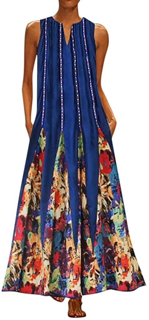 Hotkey_Dresses Women's Vintage Bohemian V Neck Plus Size Print Sleeveless Maxi Dress