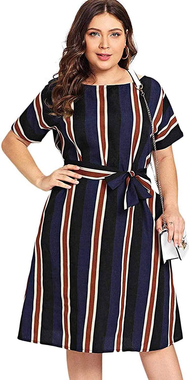 Milumia Women's Plus Size Striped Belted Colorblock Short Sleeve Midi Dresses