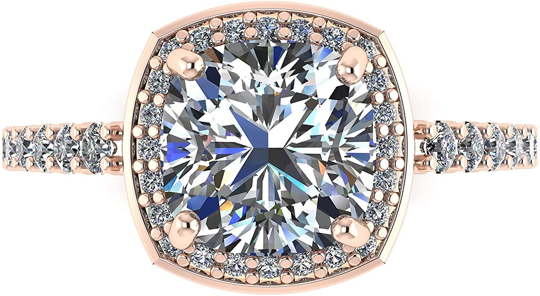 NANA Sterling Silver Swarovski Zirconia Cushion Cut Halo Engagement Ring 7mm center