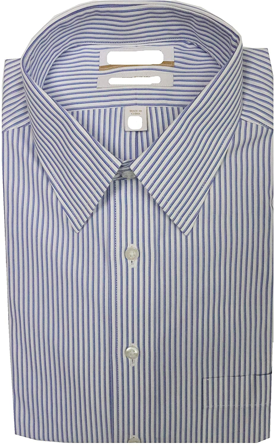 Gold Label Roundtree & Yorke Non-Iron Regular Pointed Collar Stripe Dress Shirt S95DG044 Blue Multi
