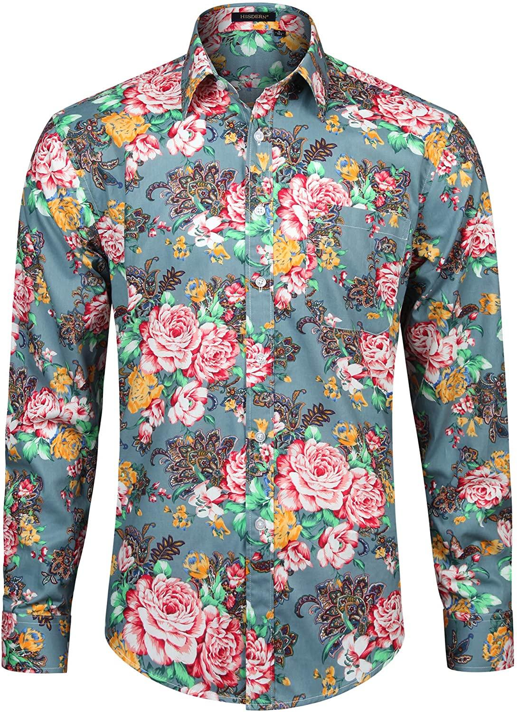 HISDERN Mens 100% Cotton Stylish Paisley Floral Unique Printed Long Sleeve Shirts Casual Button Down Dress Shirts