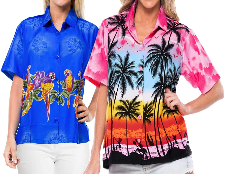 LA LEELA Women Hawaiian Boyfriends Shirt Ladies Beach Blouses Tops Work from Home Clothes Women Beach Shirt Blouse Shirt Combo Pack of 2 Size XXL