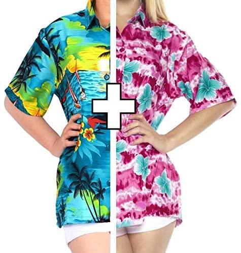 LA LEELA Women's Swim Hawaiian Shirt Blouse Tops Button Down Shirt XXL Work from Home Clothes Women Blouse Pack of 2