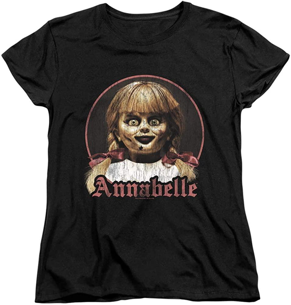 Annabelle Womens T-Shirt Vintage Doll Portrait Black Tee