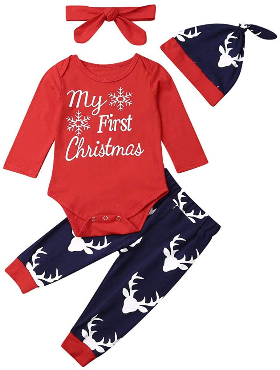 Kidseas Baby Boy Girl Xmas Pants Set Long Sleeve My First Christmas Romper Bodysuit Reindeer Leggings Headband Hat Outfit
