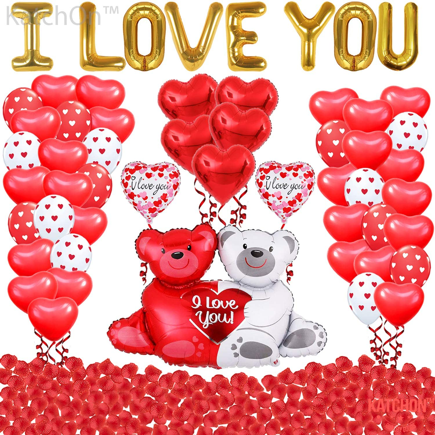 Valentines Decorations Ballooons and Rose Petals - 1000 Red Rose Petals for Romantic Night | I Love You Balloons for Valentines Decorations | Mylar Red Heart Balloons | Teaddy Bear Valentines Balloons