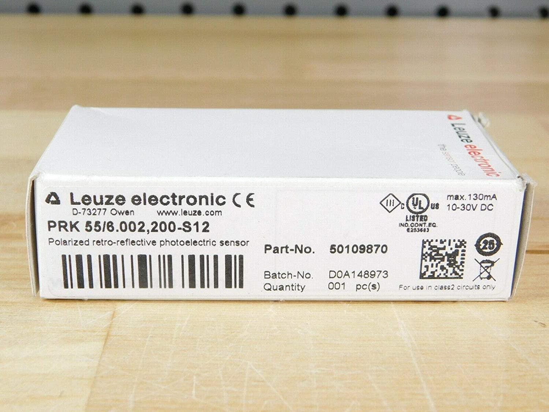 LEUZE PRK 55/6.002,200-S12 Retro-Reflective, 10-30 VDC, Light/Dark, PNP/NPN, PHOTOELECTRIC Sensor, 50109870, 130 MA, 0-3.5 M Sensing Range, Polarized, (50109870)