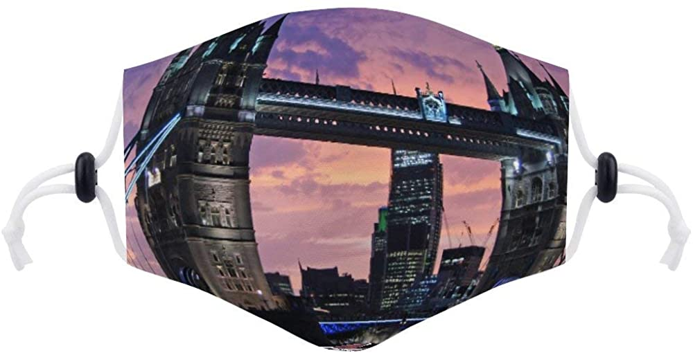 Face Protection (with Two Filters) London Tower Bridge Bridge Monument Face Protection Unisex Adjustable Breathable Dustproof Mouth Cover