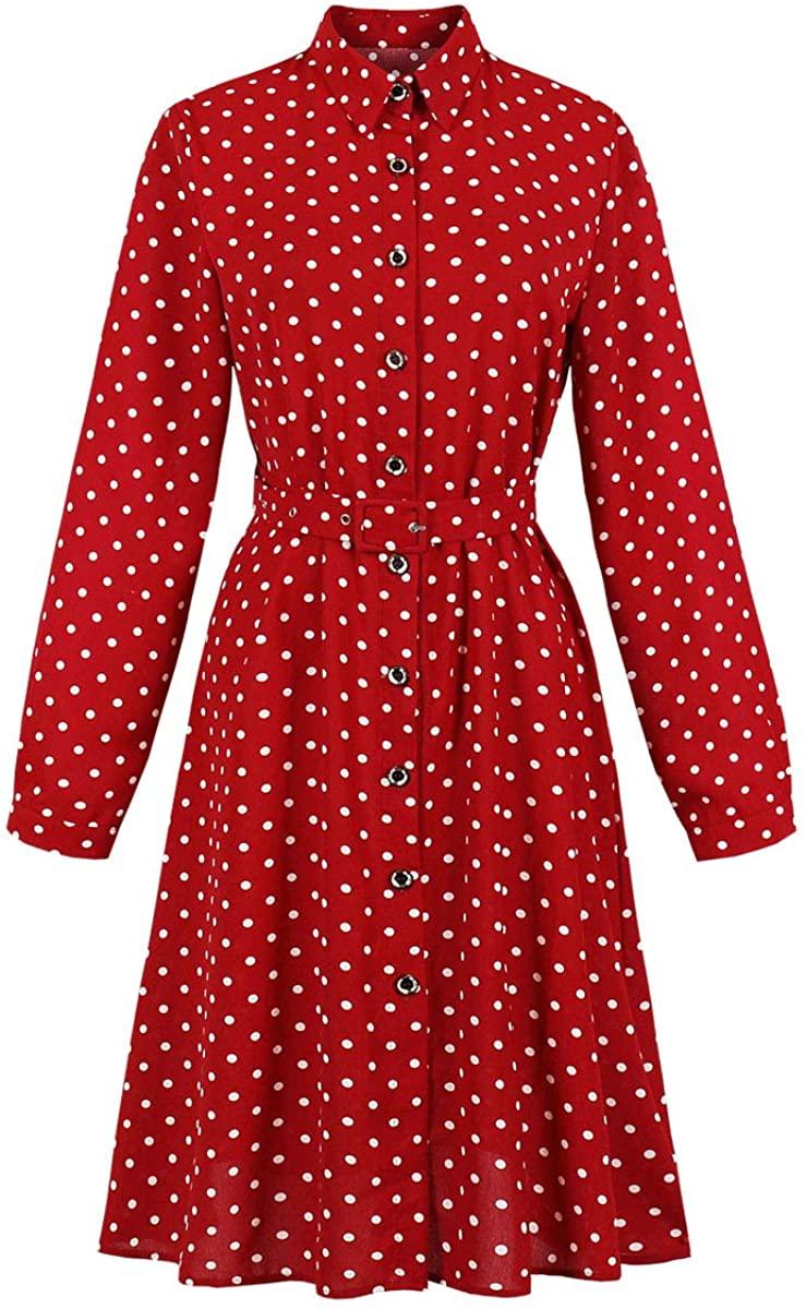 Wellwits Womens Long Sleeves Polka Dots Button Down Vintage Shirt Dress