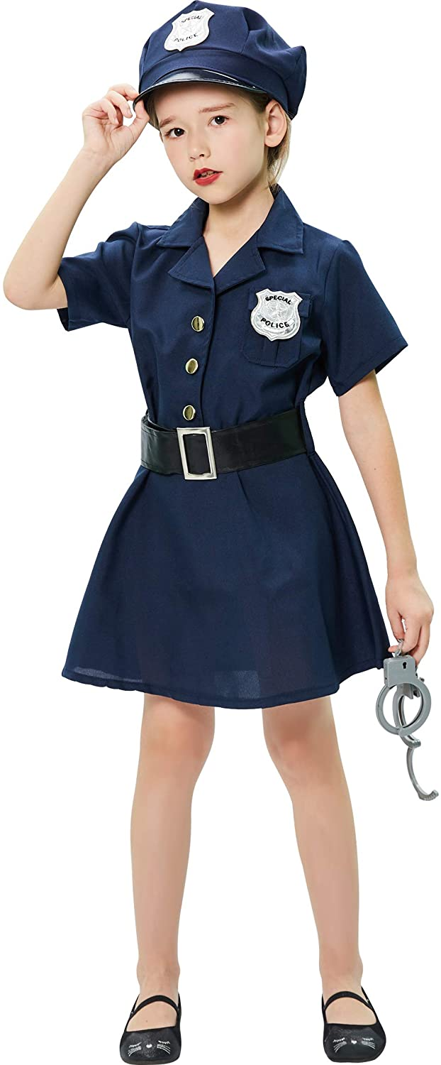 B Bascolor Police Officer Costume for Girls Cop Costume Kids Cop Cutie Dress for Girls Pretend Role Play Halloween Costumes
