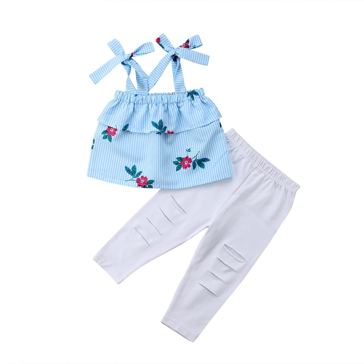 Mother and Daughter Ruffle Off Shoulder Floral Tops White Hole Pants Family Matching Clothes
