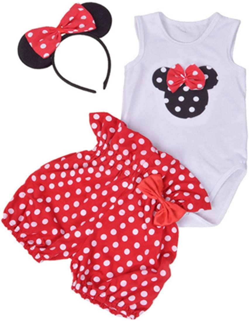 Amberetech Infant Baby Girl Mini Mouse Shorts Suits Romper Outfit 3Pcs Clothing Set