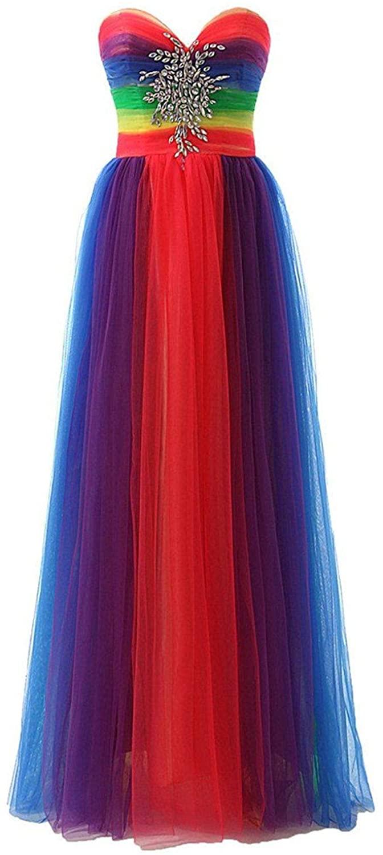Snowskite Womens Rainbow Sweetheart Tulle Beaded Evening Bridesmaid Formal Dress