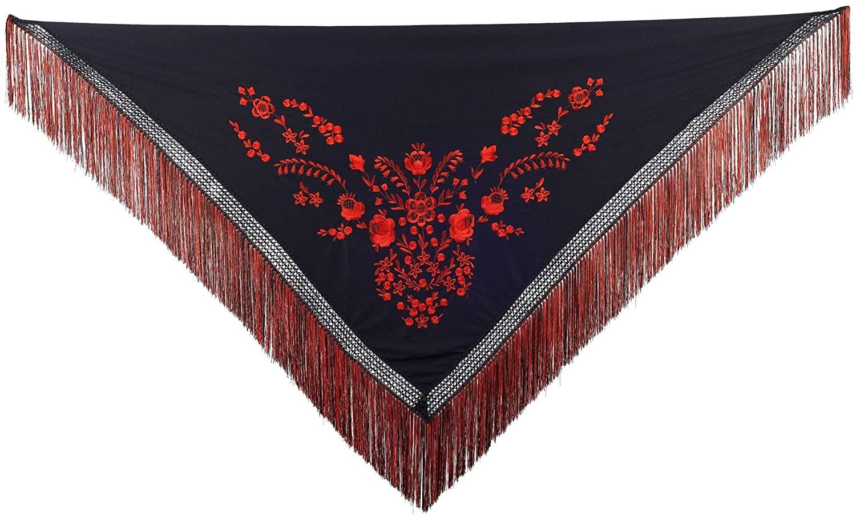 La Senorita Spanish Flamenco Dance Shawl black red, Fringes black and red - flecos doble